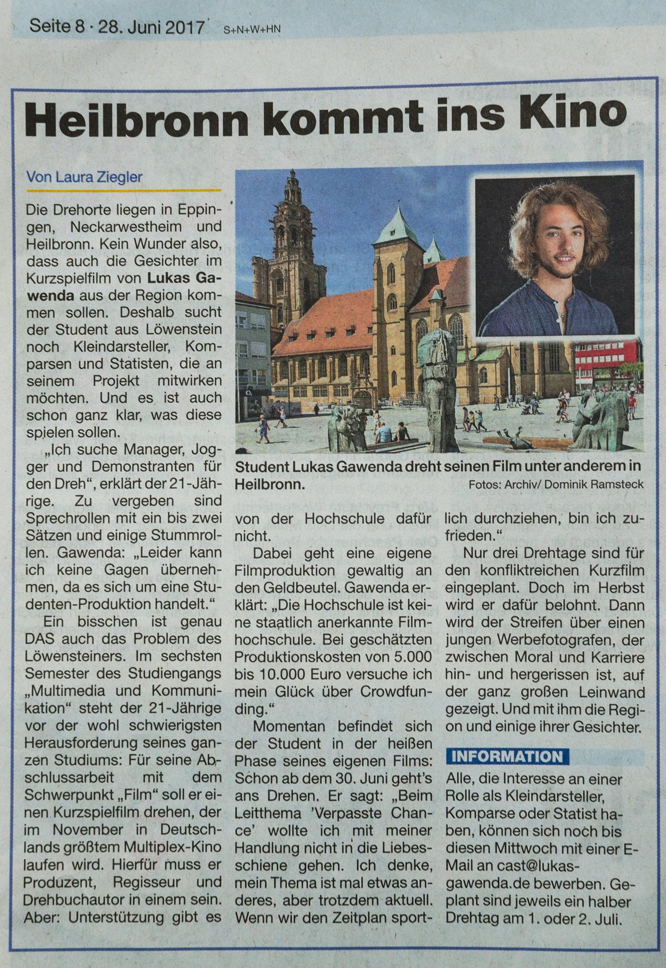 """Heilbronn kommt ins Kino"" (Echo am Mittwoch, 28.06.2017, S. 8)"