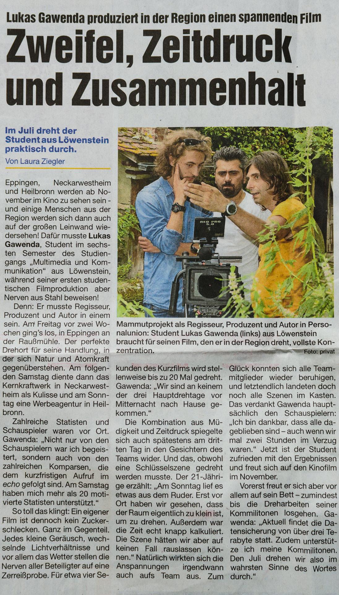 """""""Zweifel, Zeitdruck und Zusammenhalt"""" (Echo am Wochenende, 08./09.07.2017, S. 2)"""